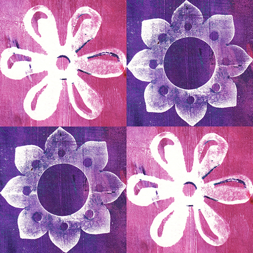 Art Journal Backgrounds - Purple-Pink Flower Pattern