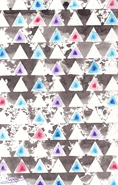 Art Journal Backgrounds - Triangles Stencil-Stamped