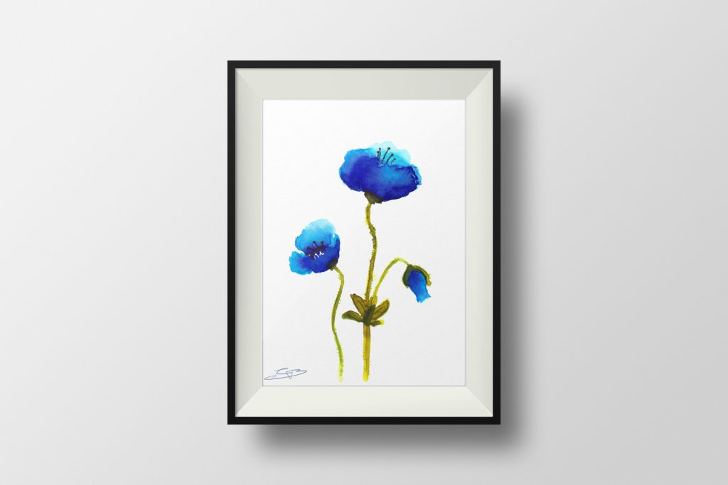 Blue Poppies Mockup