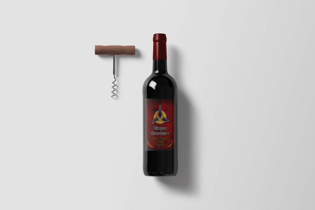 Klingon Bloodwine - Wine Bottle Label Mockup