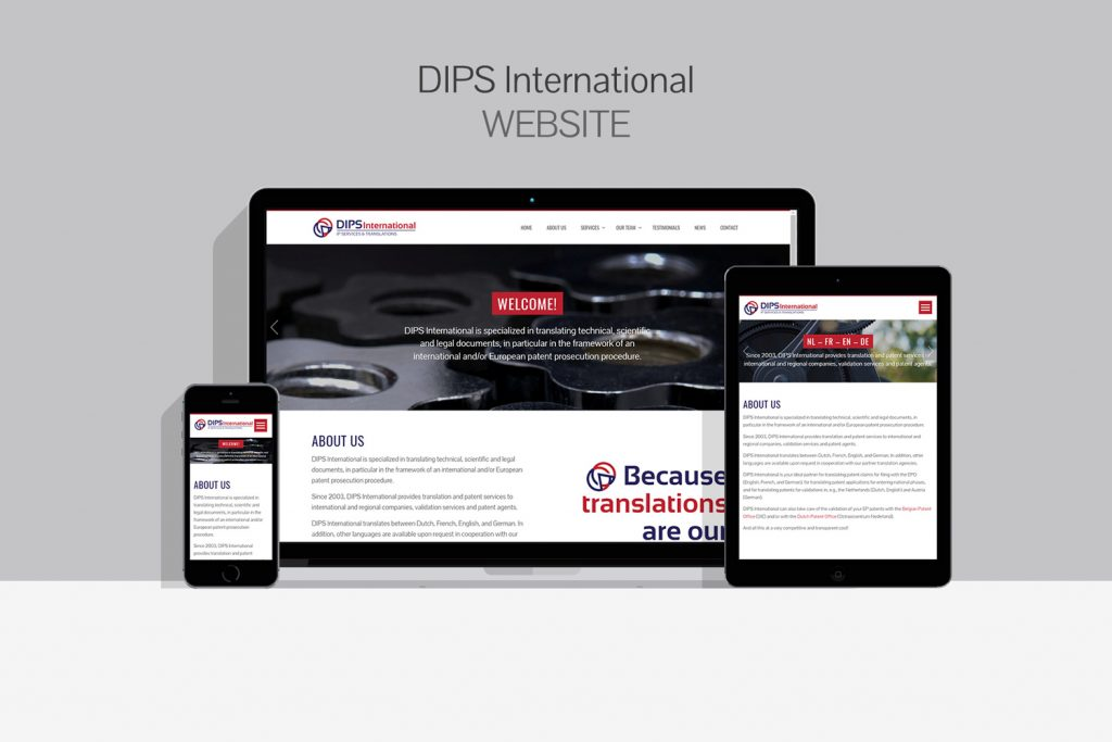 DIPS International Website Mockup
