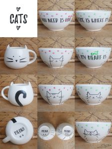 Kitty Mug and Bowls