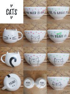 Kitty Mug and Bowls
