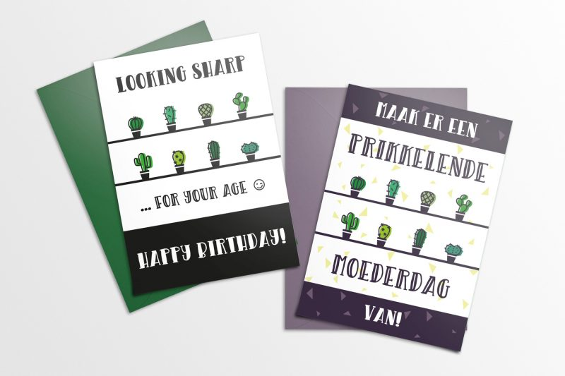 Cute Cacti Cards Mockup