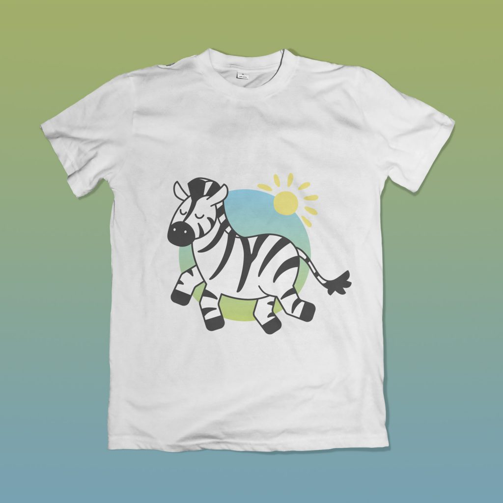 Cute Zebra Design T-shirt Mockup